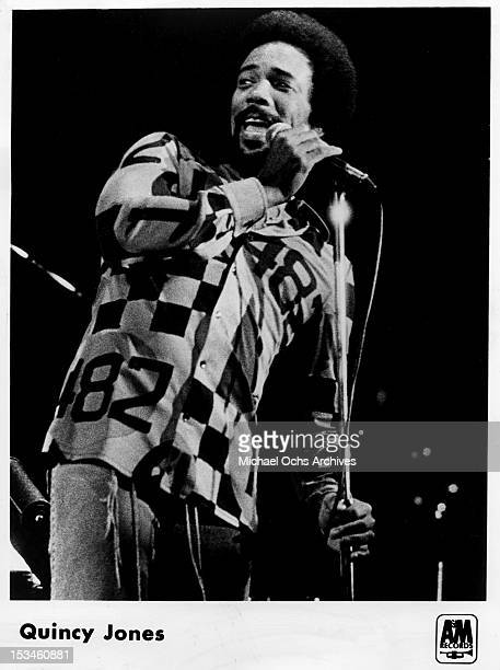 Producer conductor arranger composer and trumpeter Quincy Jones performs circa 1973