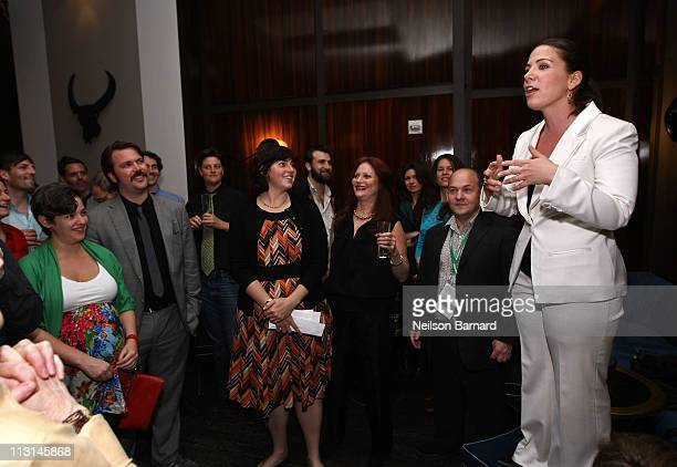 Producer Cora Olsen speaks at The Perfect Family's premiere afterparty at the Tribeca Film Festival presented by American Express at Thom Bar on...