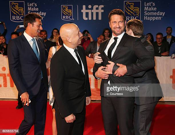 Producer Craig Flores actor Anupam Kher Gerald Butler and director Mark Williams attend the 2016 Toronto International Film Festival Premiere of 'The...