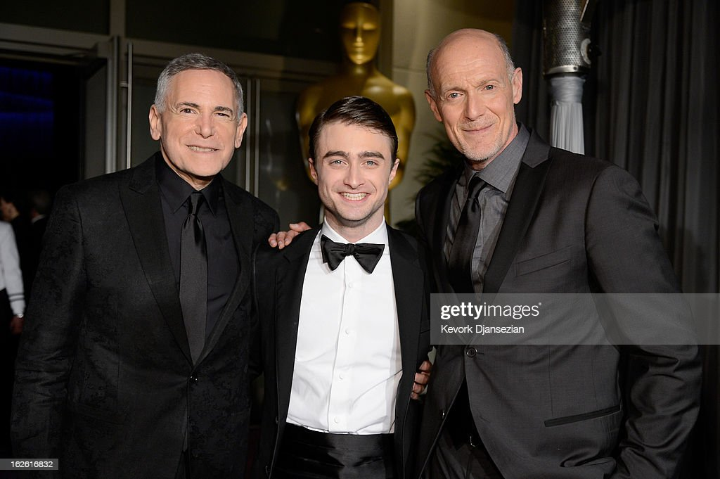 Producer Craig Zadan, actor Daniel Radcliffe, and producer Neil Meron attend the Oscars Governors Ball at Hollywood & Highland Center on February 24, 2013 in Hollywood, California.