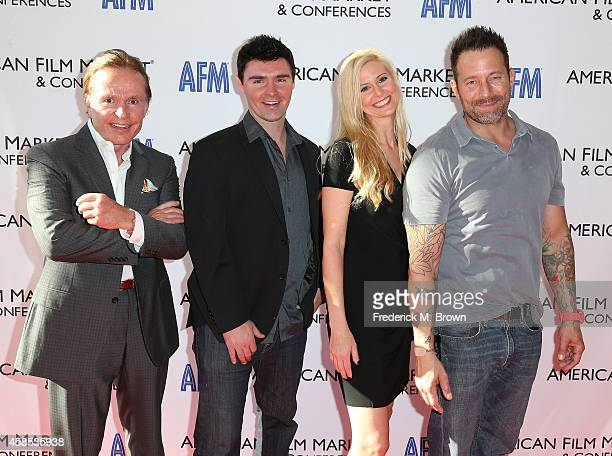 Producer Craigar L Grosvenor actor/director Timothy Woodward Jr Kristine Kreska and actor Johnny Messner attend The 2014 American Film Market at the...