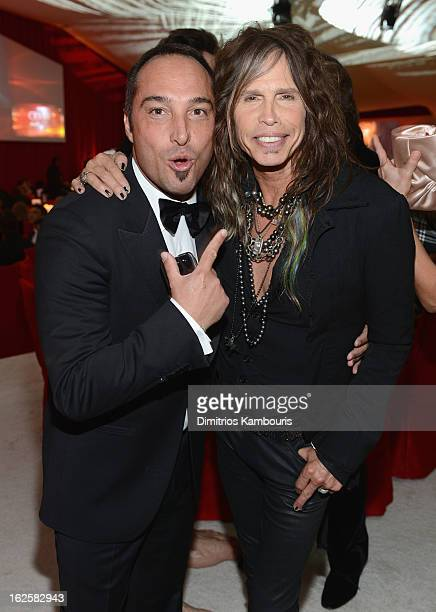 Producer Cristiano de Masi and singer Steven Tyler attend the 21st Annual Elton John AIDS Foundation Academy Awards Viewing Party at West Hollywood...