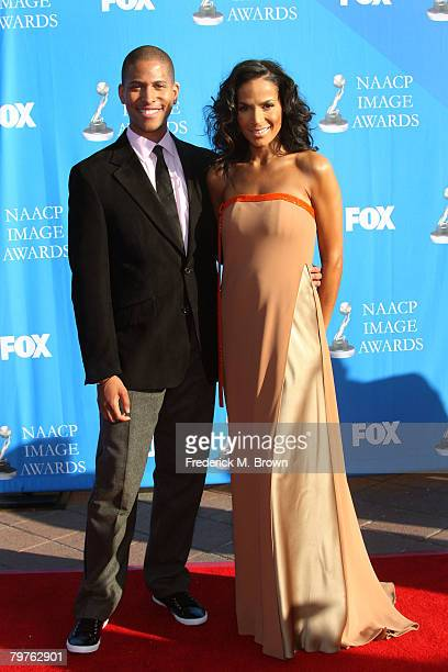 Producer Crystal Anthony and guest arrives at the 39th NAACP Image Awards held at the Shrine Auditorium on February 14 2008 in Los Angeles California