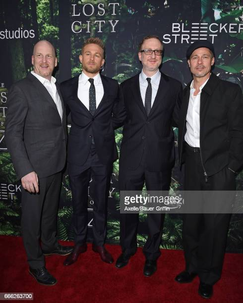 Producer Dale Johnson actor Charlie Hunnam director James Gray and executive producer Brad Pitt arrive at the Premiere of Amazon Studios' 'The Lost...