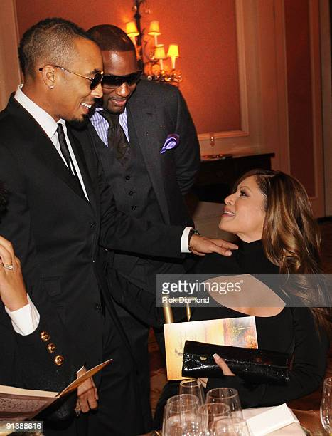 Producer Dallas Austin CEO Upfront Devyne Stephens and Recording Artist Perri Pebbles Reid during the TJ Martell Foundation's Best Cellars Dinner at...