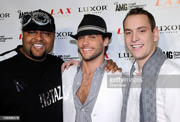 Producer Damon Elliott singer Josh Strickland from the television show Holly's World and producer Axident arrive at the LAX Nightclub at the Luxor...