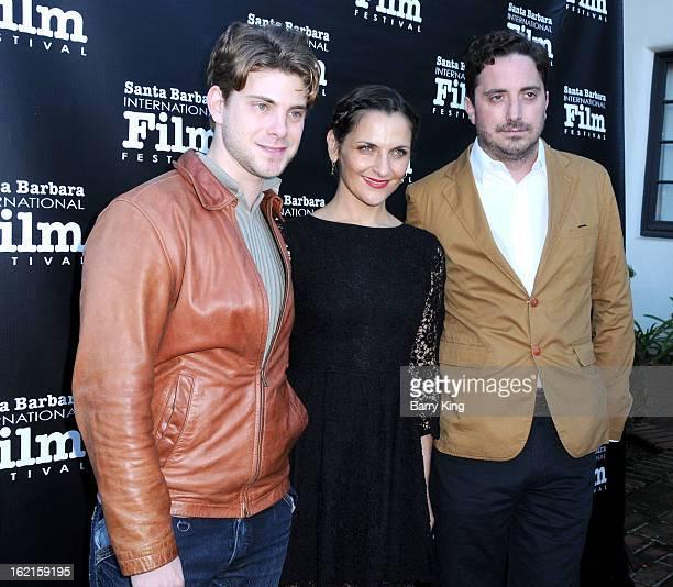 Producer Dan Dreyfuss actress Antonia Zegers and director Pablo Larrain attend the 28th Santa Barbara International Film Festival 'No' Premiere at...