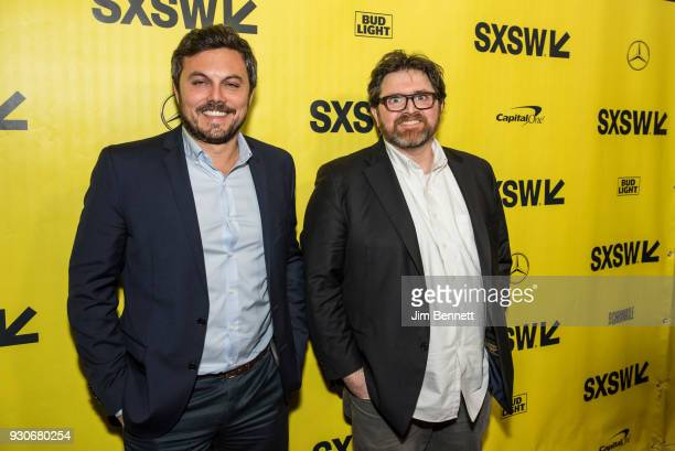 Producer Dan Farah and author Ernest Cline walk the red carpet at the world premiere of Ready Player One during the SXSW Film Festival on March 11...
