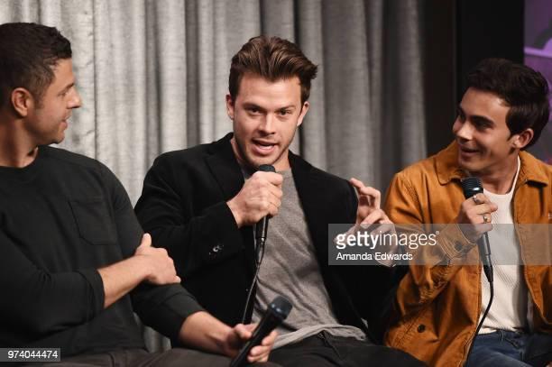 Producer Dan Lagana and actors Jimmy Tatro and Tyler Alvarez attend the SAGAFTRA Foundation Conversations screening of American Vandal at the...
