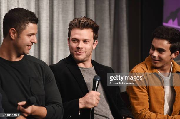 Producer Dan Lagana and actors Jimmy Tatro and Tyler Alvarez attend the SAGAFTRA Foundation Conversations screening of American Vandal at the...