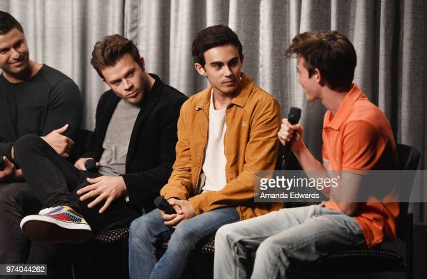 Producer Dan Lagana and actors Jimmy Tatro Tyler Alvarez and Griffin Gluck attend the SAGAFTRA Foundation Conversations screening of American Vandal...
