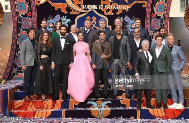 Producer Dan Lin actors Nasim Pedrad Marwan Kenzari Naomi Scott Mena Massoud Will Smith Navid Negahban Composer Alan Menken and colyricists Benj...
