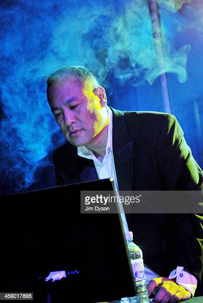 Producer Dan the Automator of alternative hip hop supergroup Deltron 3030 performs live on stage with a 16piece orchestra in support of their album...