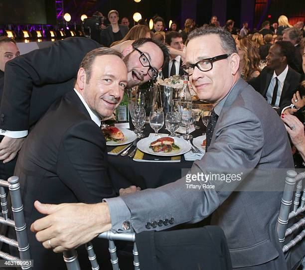 Producer Dana Brunetti actor Kevin Spacey and actor Tom Hanks with Champagne Nicolas Feuillatte at the 19th Annual Critics' Choice Movie Awards at...