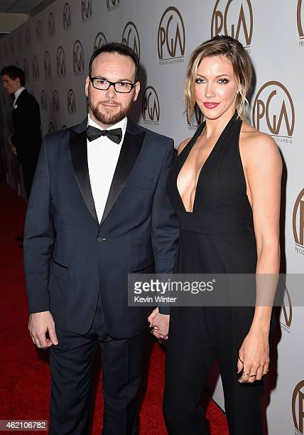Producer Dana Brunetti and actress Katie Cassidy attend the 26th Annual Producers Guild Of America Awards at the Hyatt Regency Century Plaza on...