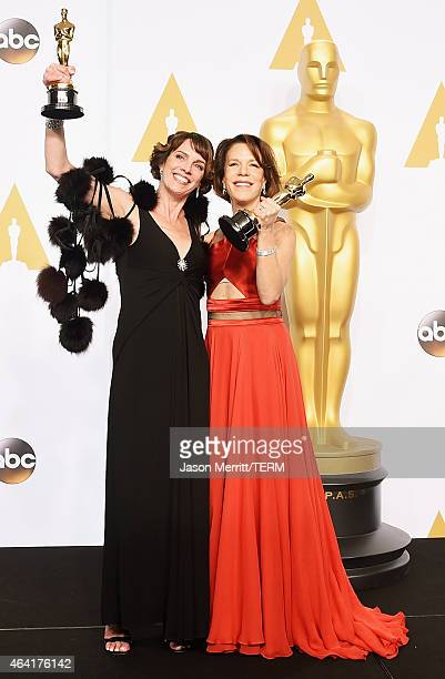 Producer Dana Perry and director Ellen Goosenberg Kent winners of the Best Documentary Short Award for 'Crisis Hotline; Veterans Press 1' pose in the...