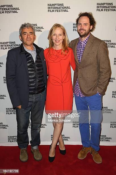 Producer Daniel Battsek, actress Amy Ryan and Drake Doremus attend the 21st Annual Hamptons International Film Festival on October 11, 2013 in East...