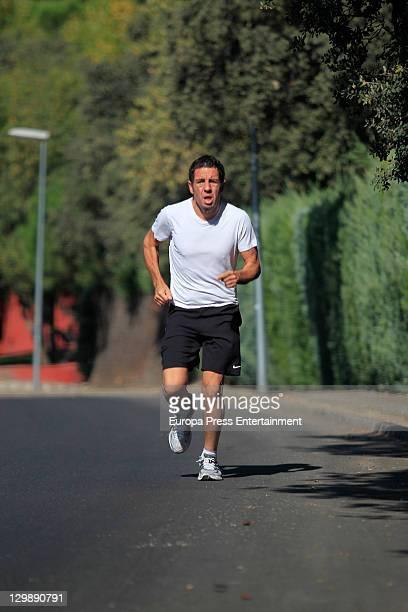 TV producer Daniel Ecija is seen jogging on October 21 2011 in Madrid Spain
