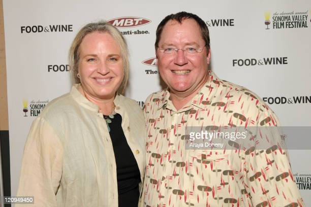 Producer Darla K Anderson and Chief Creative Officer of Pixar Animation Studios John Lasseter attend the 'Festival Tribute to Michael Keaton' at the...