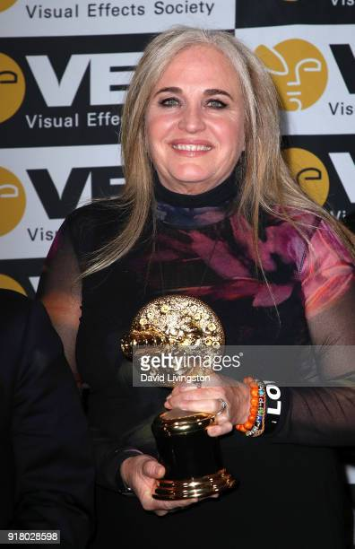 Producer Darla K Anderson attends the press room at the 16th Annual VES Awards at The Beverly Hilton Hotel on February 13 2018 in Beverly Hills...