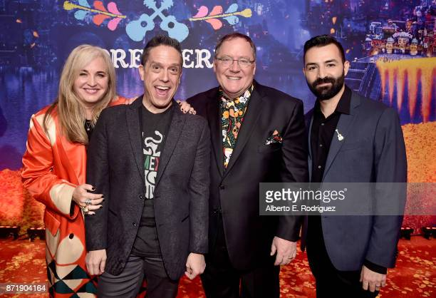 Producer Darla K Anderson Director Lee Unkrich Executive Producer John Lasseter and Codirector/Screenwriter Adrian Molina at the US Premiere of...