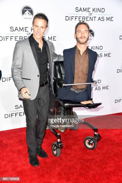 Producer Darren Moorman and Nick Vujicic attends the Premiere Of Paramount Pictures And Pure Flix Entertainment's 'Same Kind Of Different As Me' at...