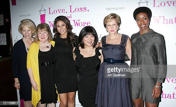 Producer Daryl Roth Marylouise Burke Emmanuelle Chriqui Ann Harada Yeardley Smith and Roslyn Ruff attend the Love Loss And What I Wore new cast...