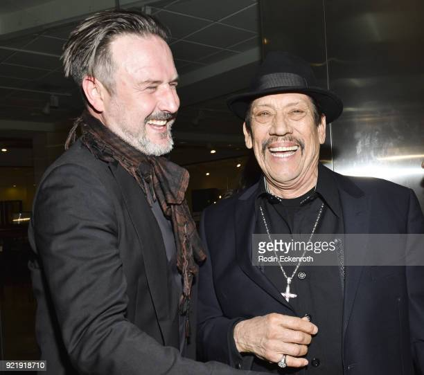 Producer David Arquette and Danny Trejo attend the premiere of Gravitas Pictures' 'Survivors Guide To Prison' at The Landmark on February 20 2018 in...