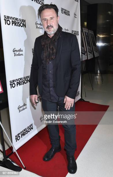 Producer David Arquette attends the premiere of Gravitas Pictures' 'Survivors Guide To Prison' at The Landmark on February 20 2018 in Los Angeles...