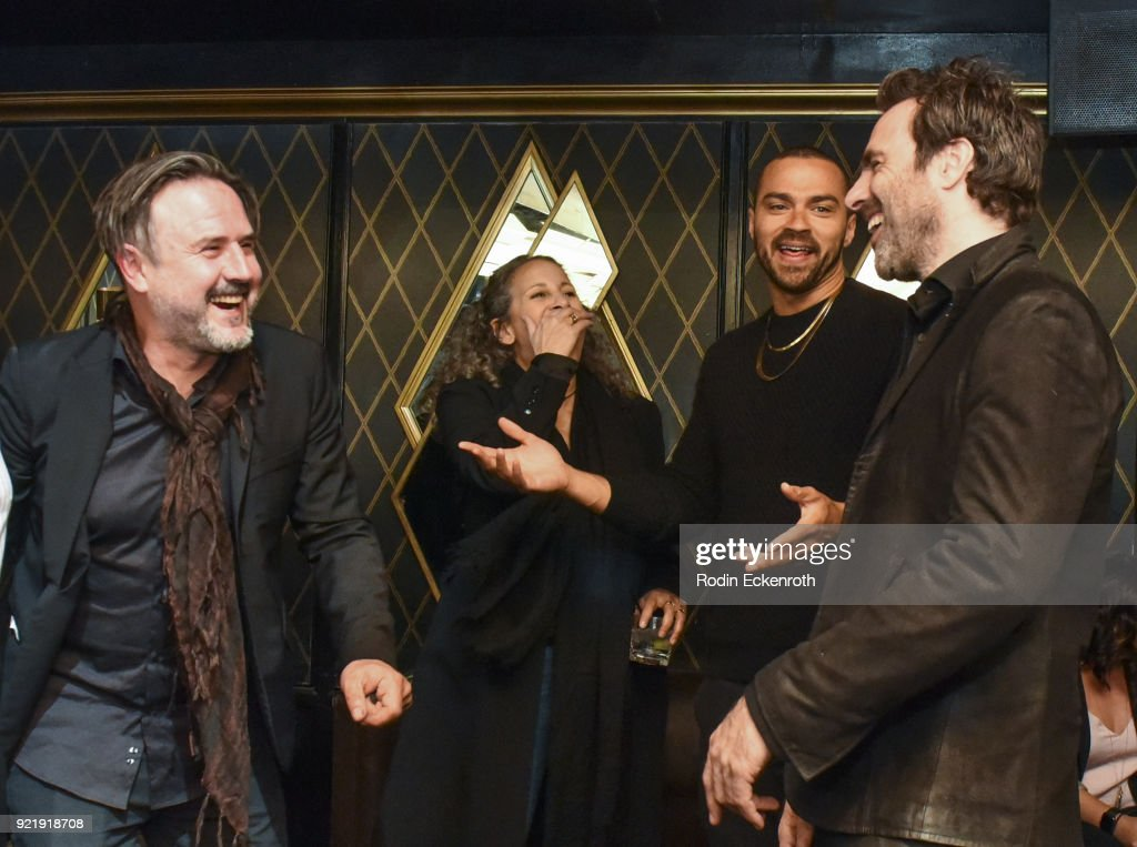 Producer David Arquette, Gina Belafonte, Jesse Williams, and director Matthew Cooke at the premiere of Gravitas Pictures' 'Survivors Guide To Prison' afterparty at Bootsy Bellows on February 20, 2018 in West Hollywood, California.