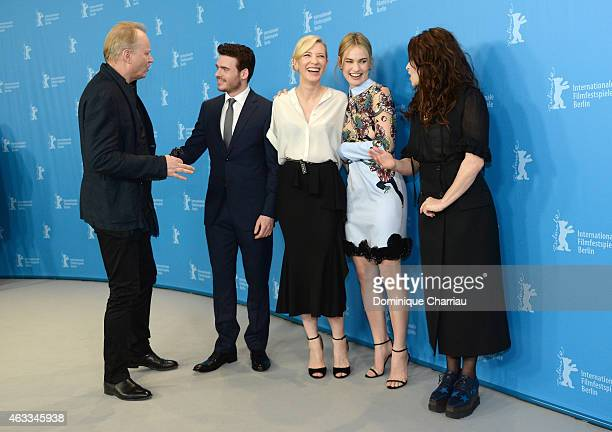 Producer David Barron, actors Richard Madden, Cate Blanchett, Lily James and Helena Bonham Carter attend the 'Cinderella' photocall during the 65th...