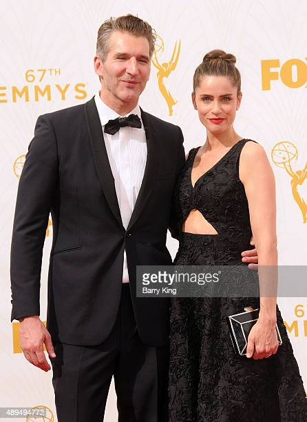 Producer David Benioff and actress Amanda Peet arrive at the 67th Annual Primetime Emmy Awards at the Microsoft Theater on September 20 2015 in Los...