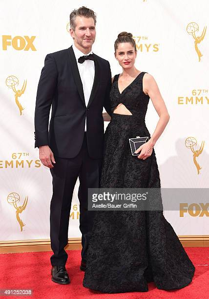 Producer David Benioff and actress Amanda Peet arrive at the 67th Annual Primetime Emmy Awards at Microsoft Theater on September 20 2015 in Los...