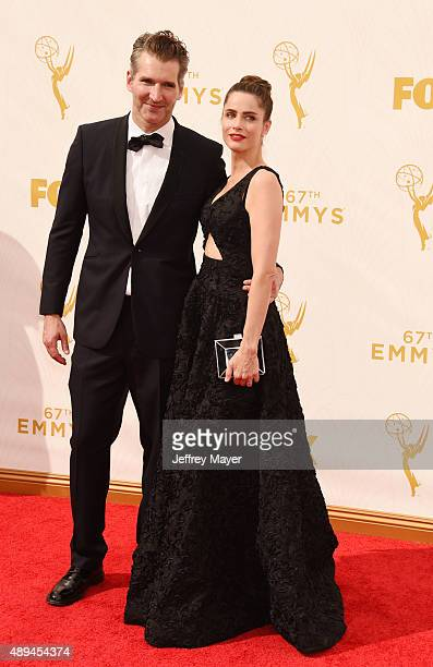 Producer David Benioff and actress Amanda Peet attend the 67th Annual Primetime Emmy Awards at Microsoft Theater on September 20 2015 in Los Angeles...