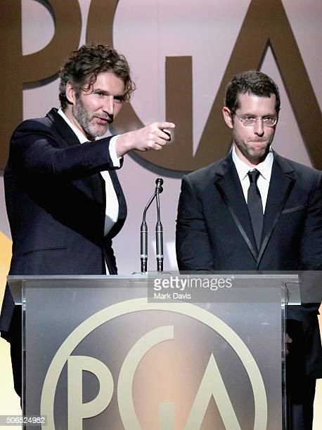 Producer David Benioff and producer DB Weiss onstage at the 27th Annual Producers Guild Awards at the Hyatt Regency Century Plaza on January 23 2016...