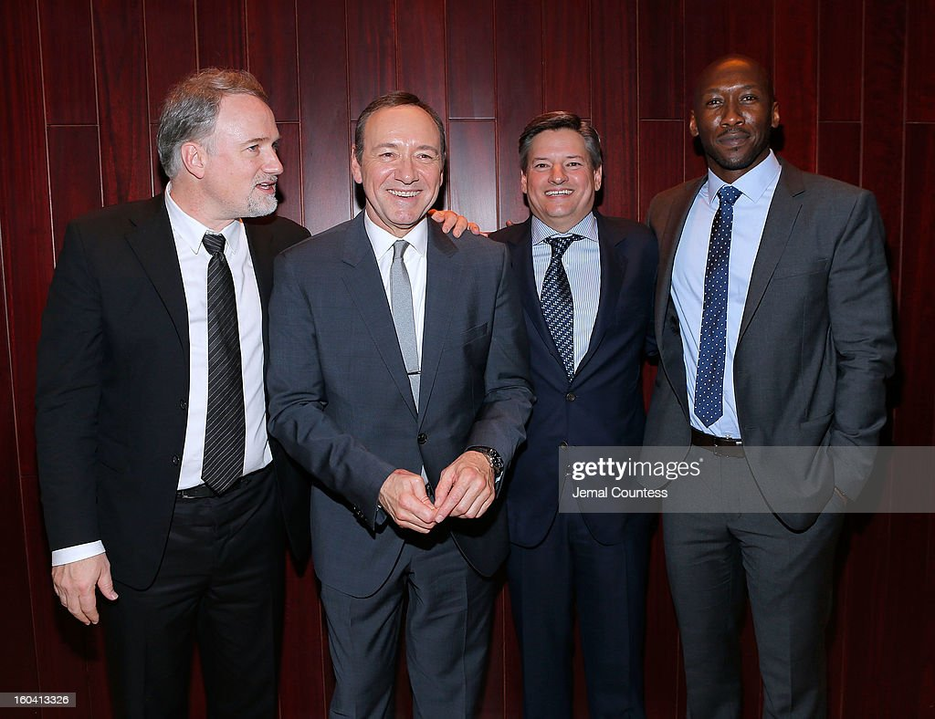 Producer David Fincher, actor Kevin Spacey, Chief Content Officer, Netflix, Inc. Ted Sarandos and actor Mahershala Ali attend Netflix's 'House Of Cards' New York Premiere After Party at Alice Tully Hall on January 30, 2013 in New York City.