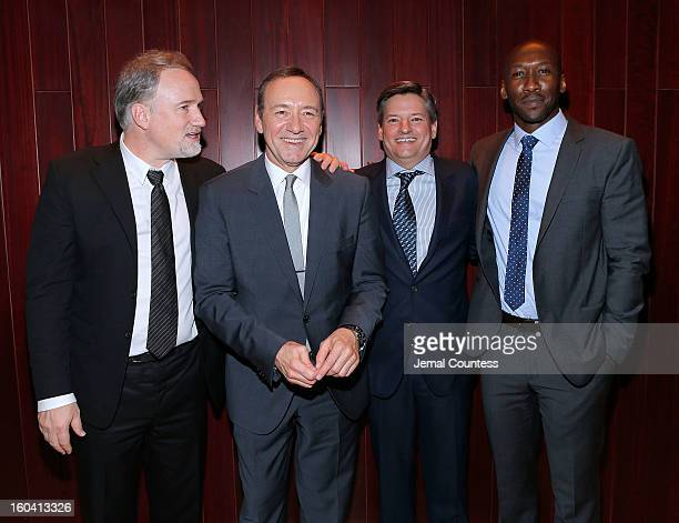 Producer David Fincher actor Kevin Spacey Chief Content Officer Netflix Inc Ted Sarandos and actor Mahershala Ali attend Netflix's 'House Of Cards'...