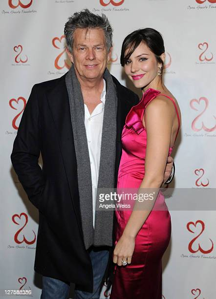 Producer David Foster and singer/songwriter Katharine McPhee attend the Jane Seymour Open Hearts Foundation Inaugural Celebration at a Private...