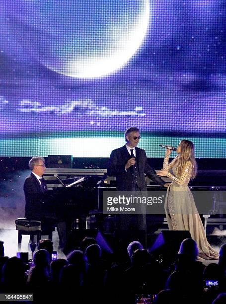 Producer David Foster, singer Andrea Bocelli, and singer Jennifer Lopez attend Muhammad Ali's Celebrity Fight Night XIX at JW Marriott Desert Ridge...