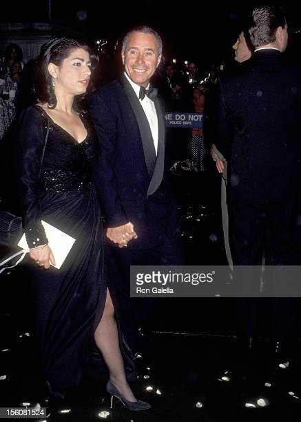 Producer David Geffen and guest attend the 'Wedding of Tommy Mottola and Mariah Carey' on June 5 1993 at the St Thomas Episcopal Church in New York...