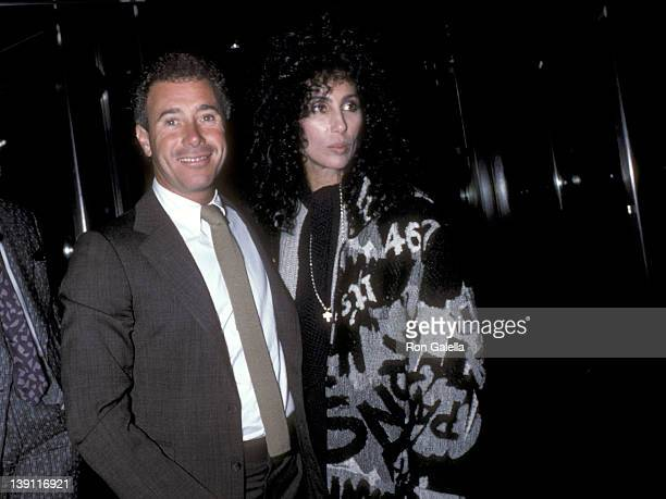Producer David Geffen and singer/actress Cher attend the After Hours New York City Premiere on September 11 1985 at the Museum of Modern Art in New...