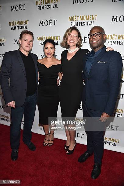 Producer David Guillod actress Gina Davis agnet Rachel Sheedy and agent Ryan Tarpley attend Moet Chandon Celebrates 25 Years at the Golden Globes on...