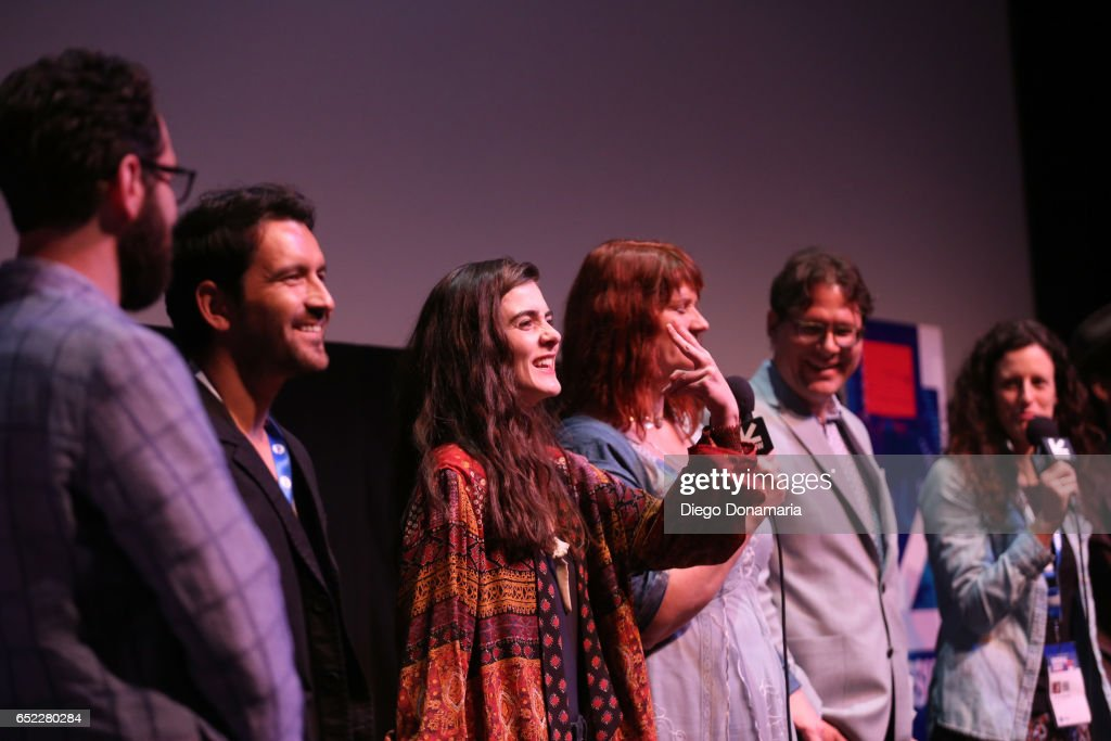 Producer David Hartstein, actors Luis Bordonada and Sophie Reid and directors Julia Halperin and Jason Cortlund speak onstage at the premiere of 'La Barracuda' during 2017 SXSW Conference and Festivals at Stateside Theater on March 11, 2017 in Austin, Texas.