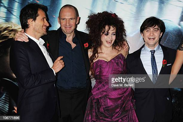 Producer David Heyman and actors Ralph Fiennes Helena Bonham Carter and Daniel Radcliffe attend the World Premiere of Harry Potter And The Deathly...