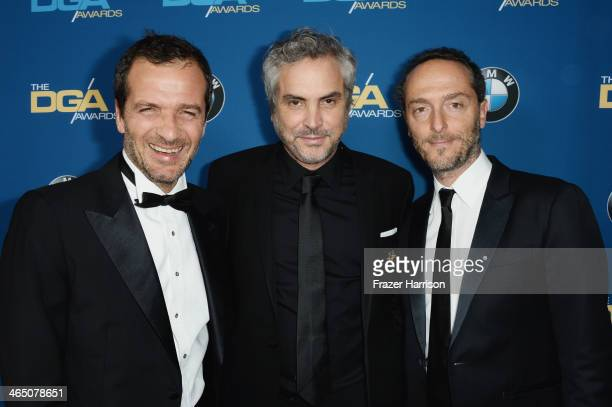 Producer David Heyman, director Alfonso Cuaron and cinematographer Emmanuel Lubezki attend the 66th Annual Directors Guild Of America Awards held at...