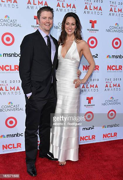 Producer David J Phillips and TV personality Mia Mastroianni arrives at the 2013 NCLR ALMA Awards at Pasadena Civic Auditorium on September 27 2013...