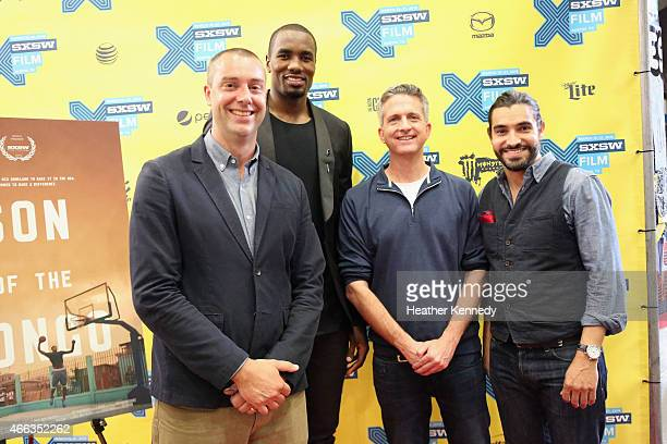 Producer David Jacoby NBA player Serge Ibaka producer Bill Simmons and director Adam Hootnick attend the premiere of 'Son of the Congo' during the...