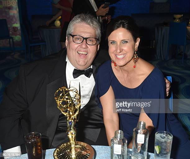 Producer David Mandel and Rebecca Whitney attend HBO's Official 2016 Emmy After Party at The Plaza at the Pacific Design Center on September 18 2016...