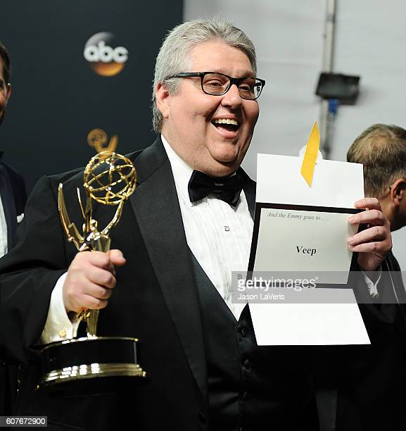 Producer David Mandel of 'Veep,' winner of the Outstanding Comedy Series award, poses in the press room at the 68th annual Primetime Emmy Awards at...