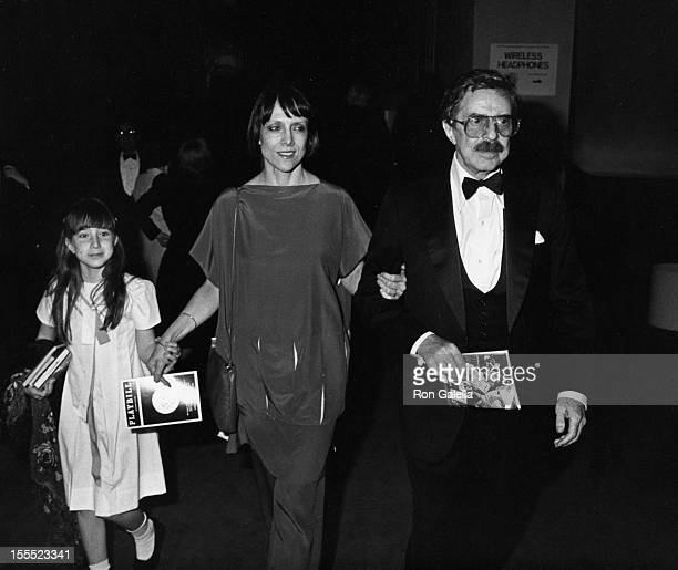 Producer David Merrick wife Etan Aronson and daughter Cecilia Ann Merrick attend 37th Annual Tony Awards on June 5 1983 at the Uris Theater in New...
